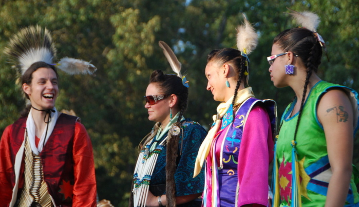 """This photo to me says it all. Native women give the """"eye"""" to a Native man. Photo Vincent Schilling International Women's Day."""