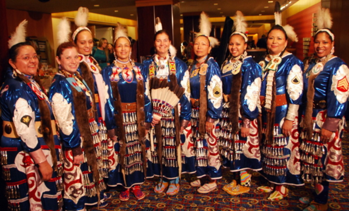 Native Women Warriors and color guard in Washington DC. Photo Vincent Schilling International Women's Day.