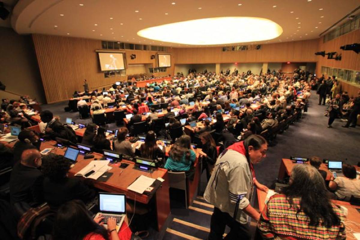 Main floor of the United Nations Forum on Indigenous Peoples. This year for the first time there's a room set aside for indigenous media.