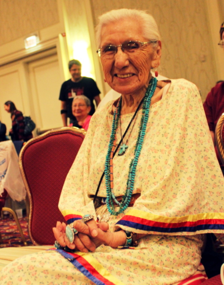 The quiet strength of an honored Native woman elder. Photo Vincent Schilling International Women's Day.