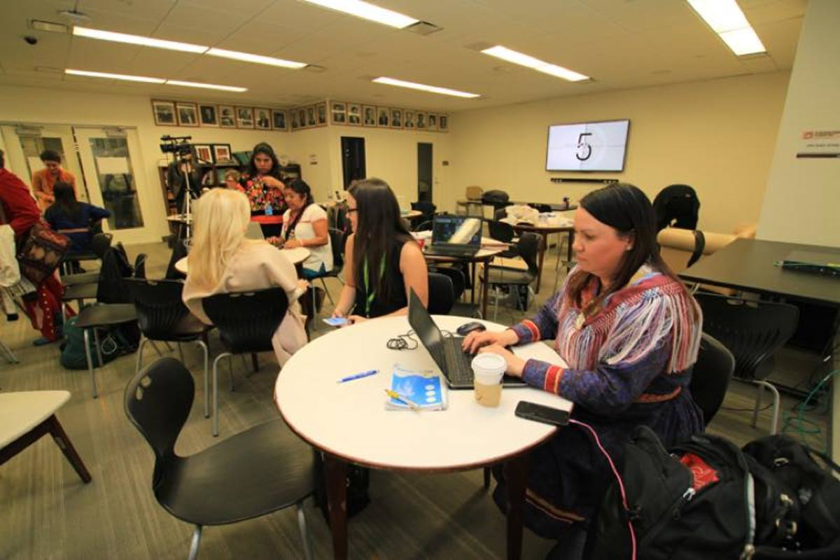 Anna Sunna from Sami Radio, Sweden, works in the special indigenous media room set aside at this year's UNFPII session.
