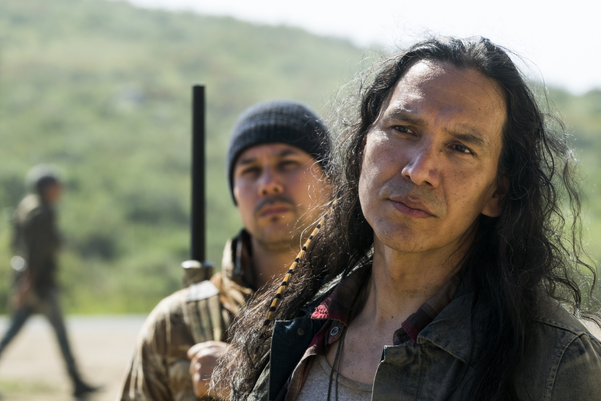 Justin Rain as Crazy Dog (right) and Michael Greyeyes as Black Hat Reservation leader Qaletaqa Walker (left) on AMC's Fear the Walking Dead. Season 3, Episode 7.
