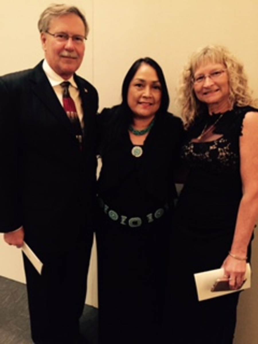 Burrell (left) and Fank (right) with Cristina Danforth, Chairwoman of the Oneida Tribe of Indians of Wisconsin and president of NAFOA, at the National Museum of the American Indian.