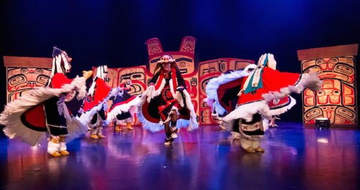 Dancers of the Damelahamid at the Coastal First Nations Dance Festival in British Columbia.