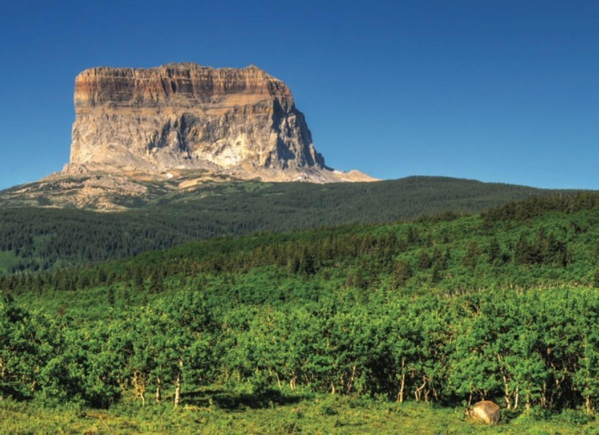 Chief Mountain, on the eastern border of Glacier National Park and the Blackfeet Indian Reservation, in Montana