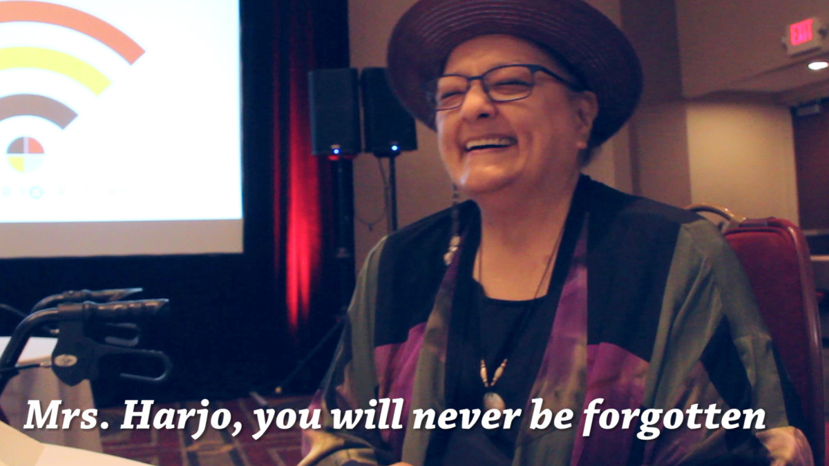 """Suzan Shown Harjo Laughing when ICMN's editor Vincent Schilling tells her, 'you will never be forgotten."""""""
