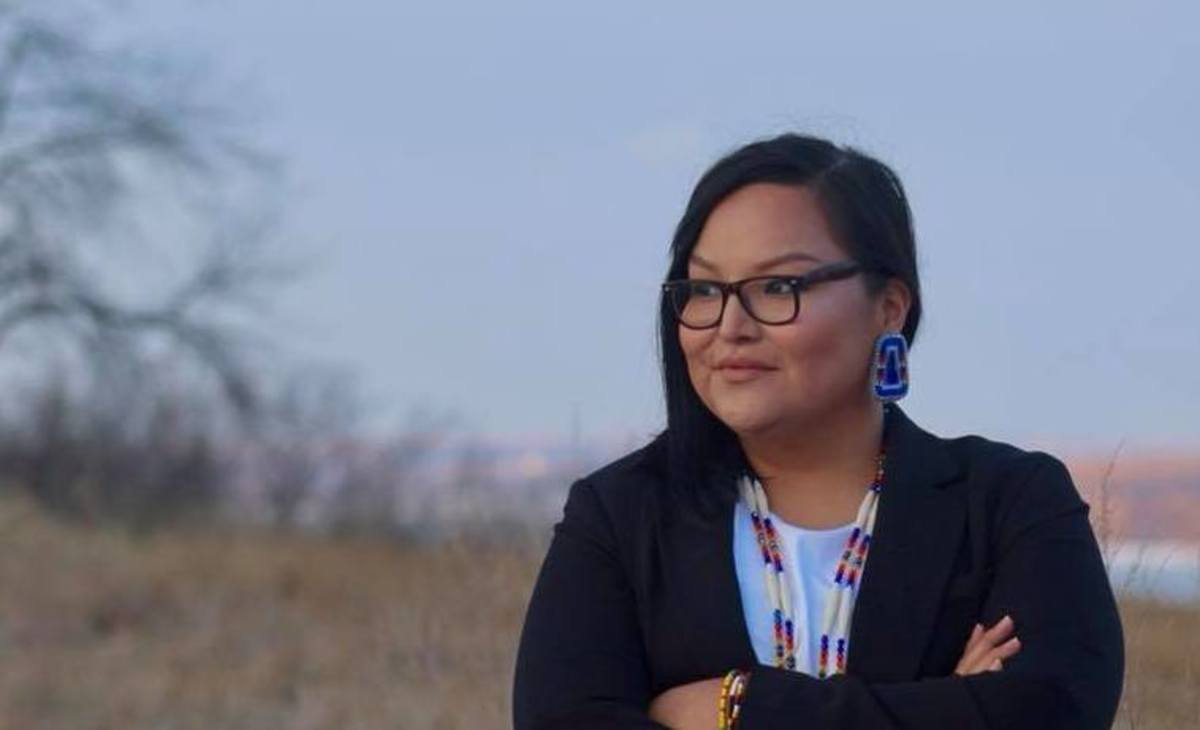 """Allison Renville, Hunkpapa Lakota, is running for the South Dakota Senate. """"I love my community, I've journeyed far and across the country but my spirit is here in District 1, South Dakota."""" She says she's running to build on the legacy of Bernie Sanders' 2016 presidential candidacy."""