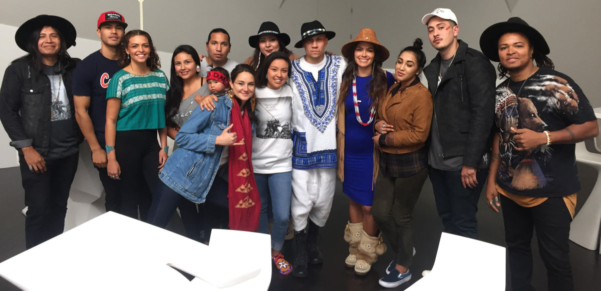Native artists, activists, and influencers from all over Indian country joined Taboo and Shailene Woodley in the studio to create this groundbreaking #NoDAPL anthem. Photo courtesy Kahara Hodges.