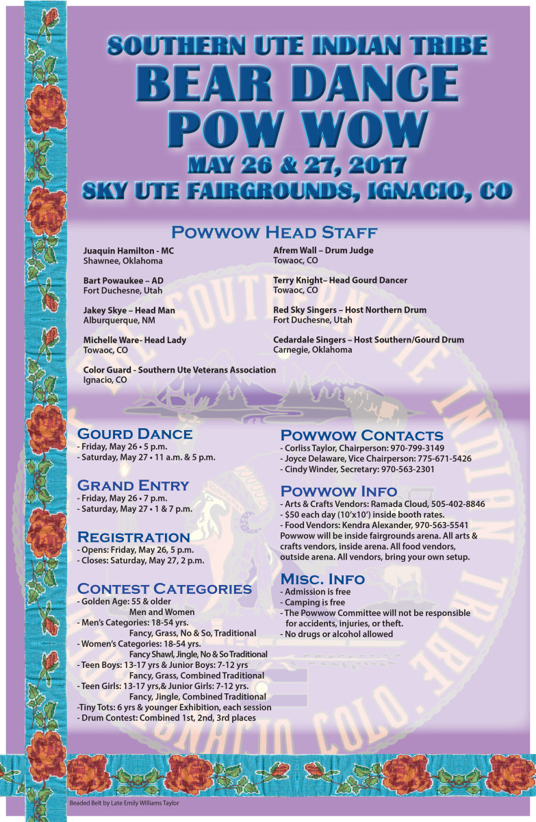 2017 Southern Ute Bear Dance Pow Wow is this weeks featured pow wow in ICMN's weekly pow wow planner.