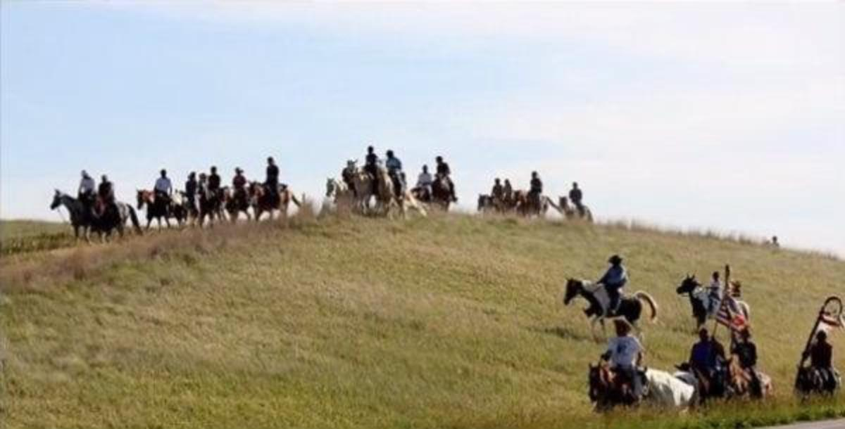 The riders on one leg of their journey.