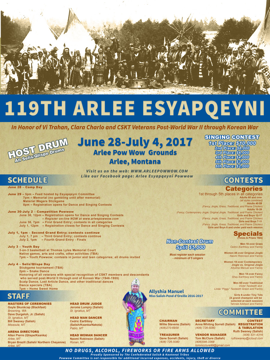The 119th Arlee Esyapqeyni takes place June 28th through July 4th in Arlee, Montana.