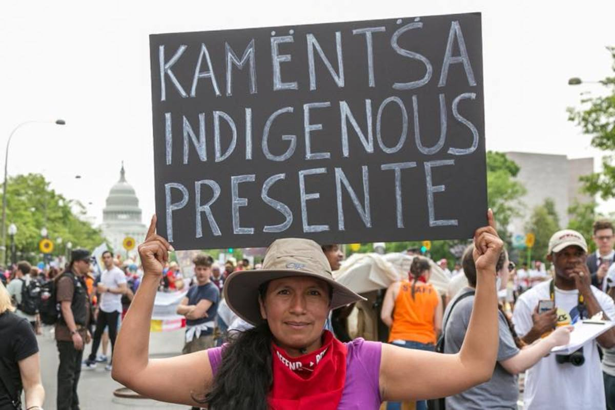 International presence: The Kamensta People from Colombia were represented at the People's Climate March in Washington DC.