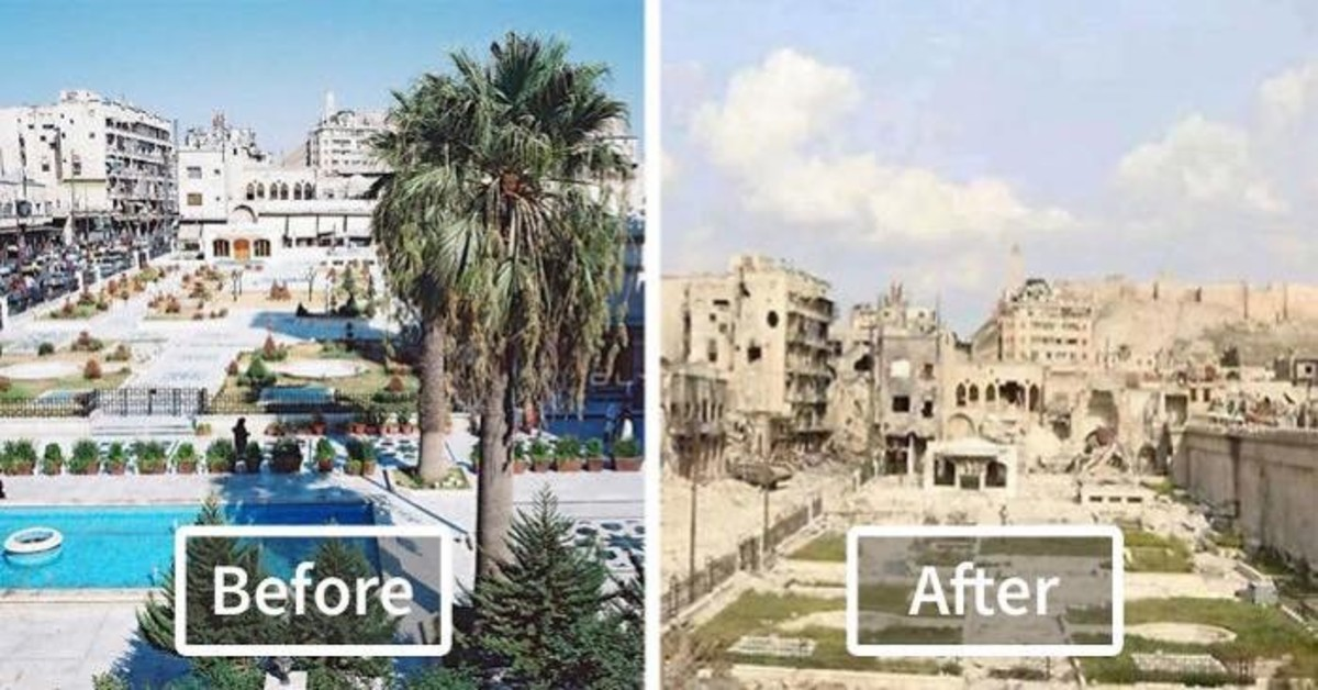 Before and After images of Aleppo