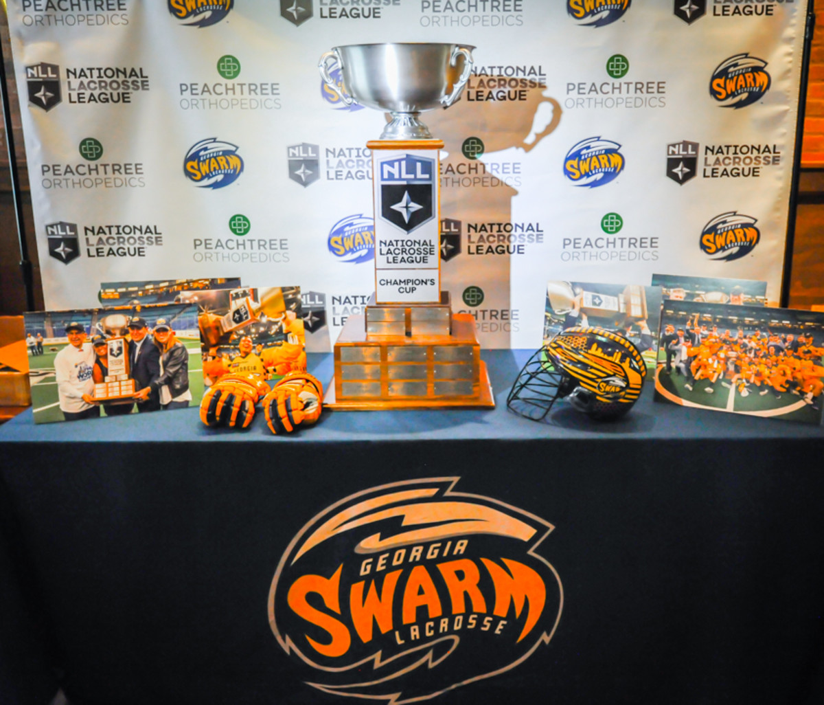 The 2017 NLL Champion's Cup on display at the Georgia Swarm's welcome home celebration on June 15, 2017. - Amy Morris