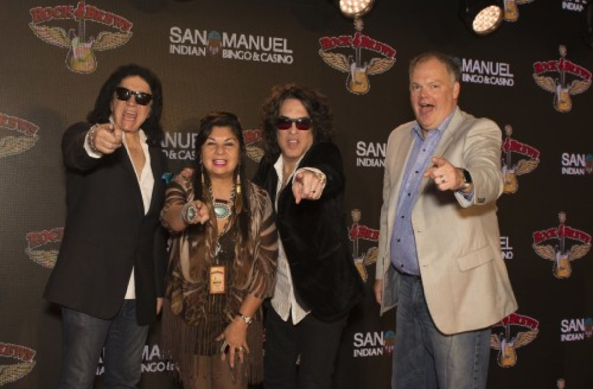 Lynn Valbuena, chairwoman of the San Manuel Band of Mission Indians, joins the rock legends at the Rock and Brews launch at San Manuel Indian Bingo and Casino in October 2016.