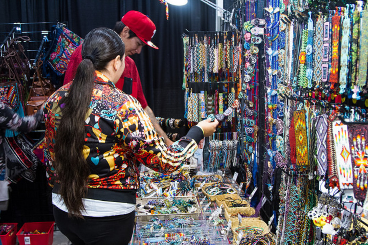 Beaded offerings at the Manito Ahbee Festival Tradeshow. Flickr - Ginger Johnson