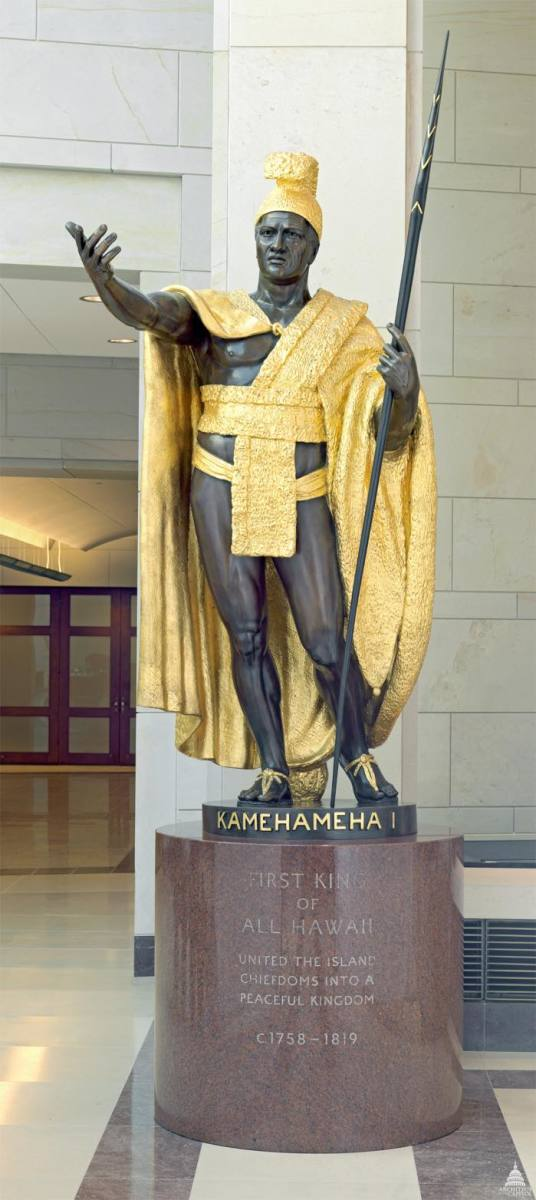 King Kamehameha I is one of the seven Native Americans represented in Statuary Hall in Washington, D.C.