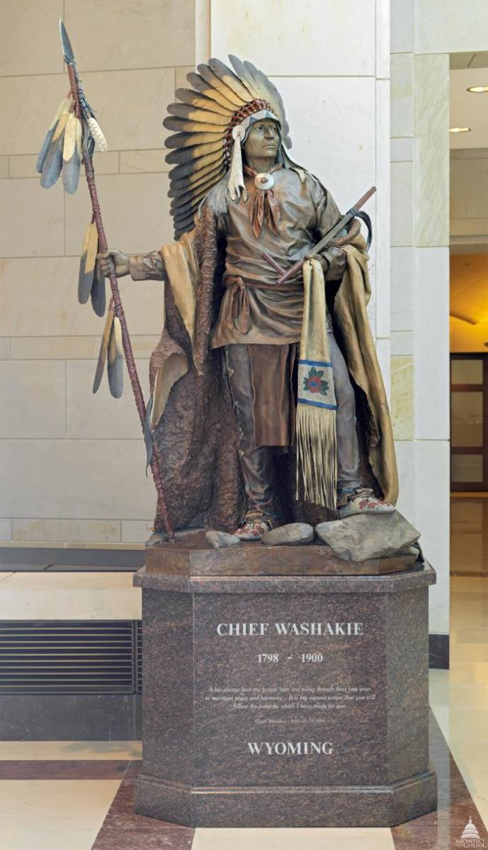 Washakie is one of the seven Native Americans represented in Statuary Hall in Washington, D.C.