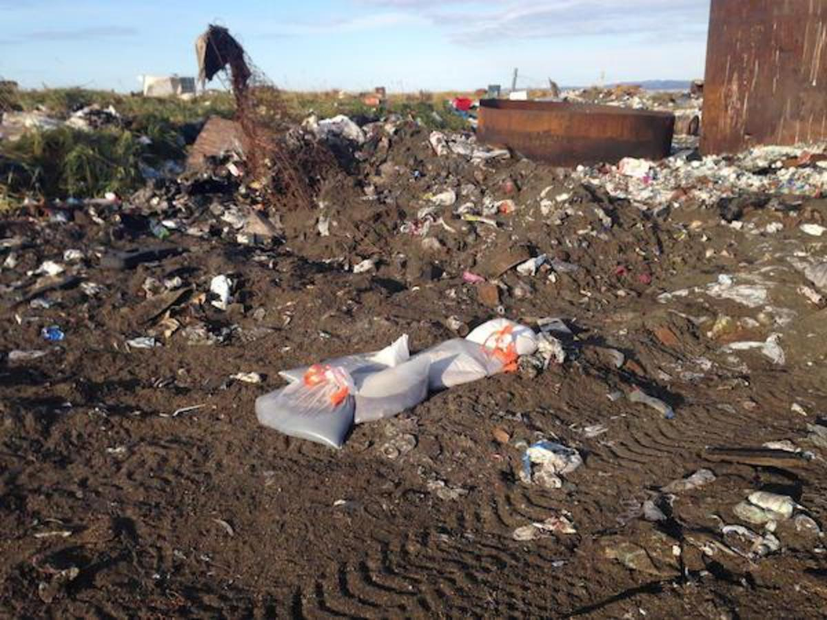 Bagged sewage in a landfill outside Kivalina, Alaska, a Native village that has little indoor plumbing.