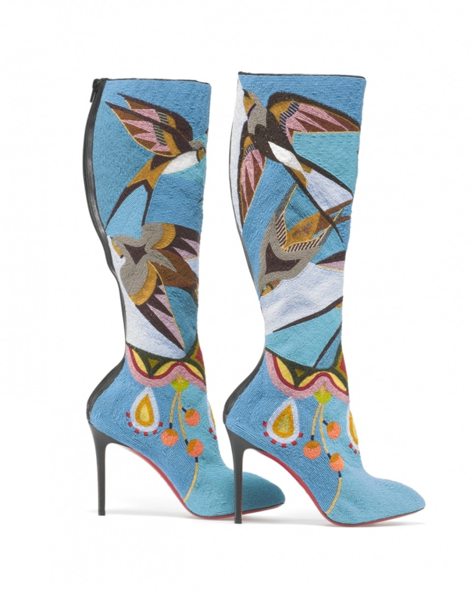 Jamie Okuma (Luiseño and Shoshone-Bannock) hand-stitched thousands of antique beads onto Christian Louboutin boots, leaving only the iconic red soles—a symbol of French aristocracy—exposed.
