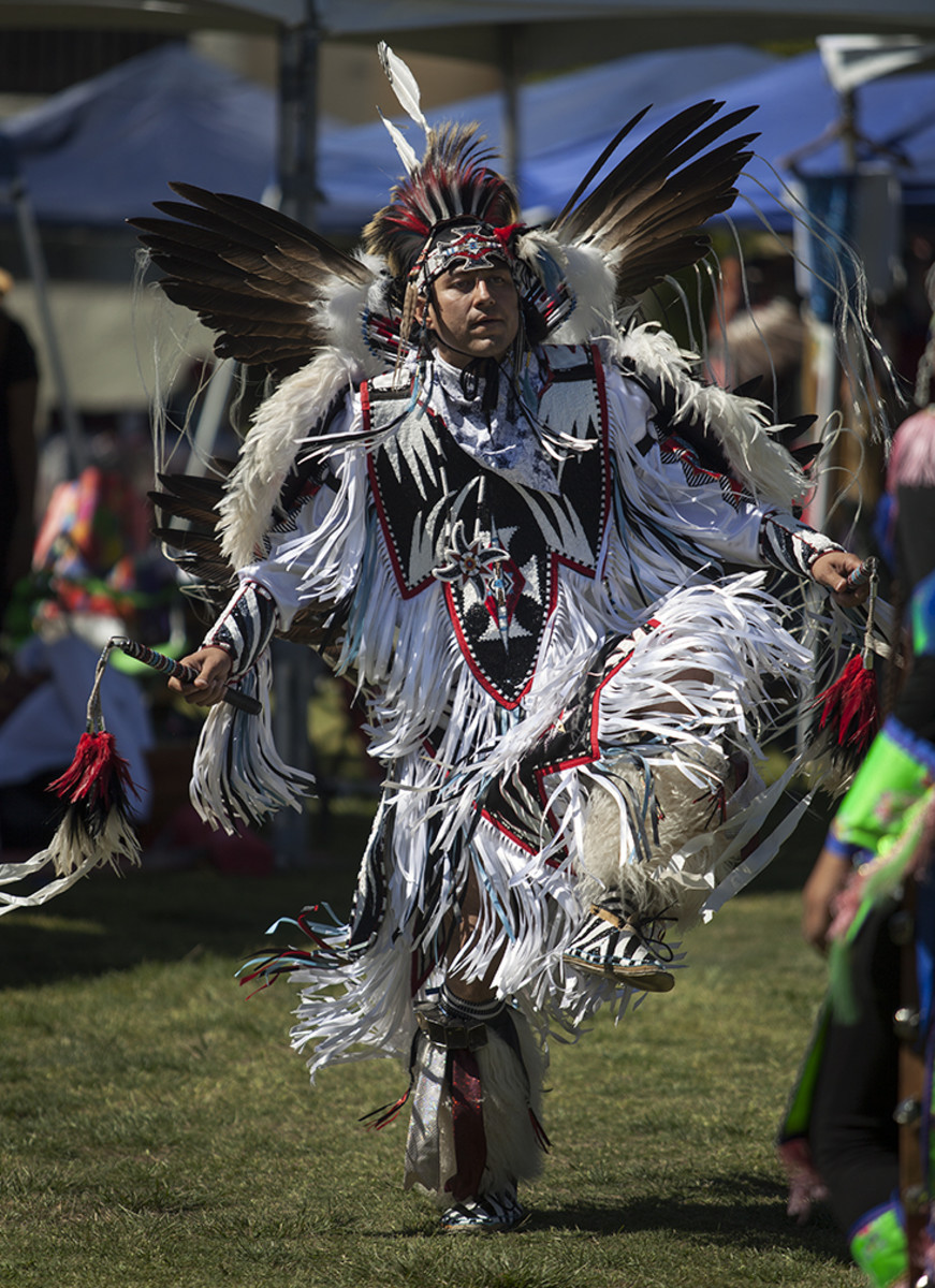 UCSD Pow Wow 2017: Fancy dancer Skye McMichael, Luiseño, dances during a late afternoon intertribal.
