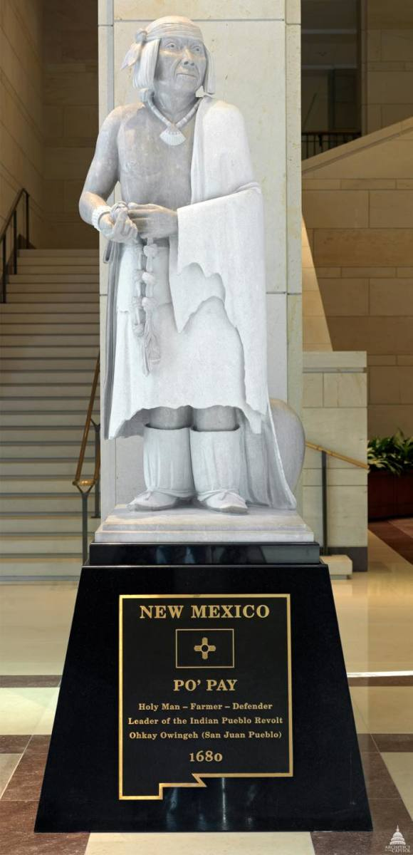 Po'pay is one of the seven Native Americans represented in Statuary Hall in Washington, D.C.