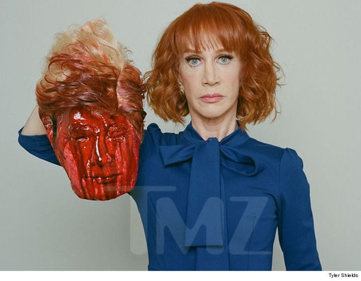 Kathy Griffith apologized for this photo of a mock decapitated Trump.