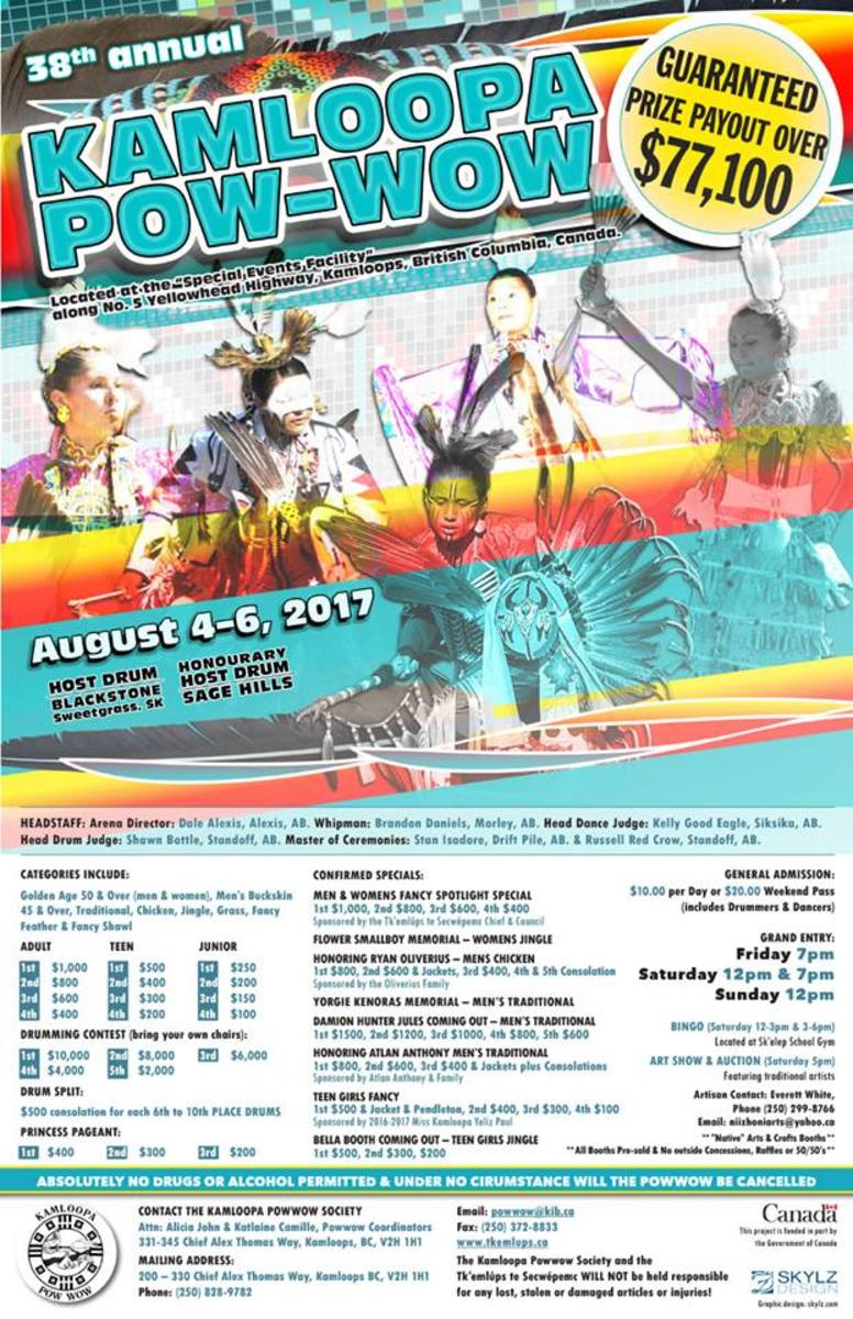 The 38th Annual Kamloopa Pow Wow takes place August 4-6 in Kamloops, BC Canada.