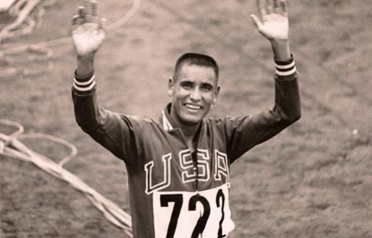 Billy Mills after his gold medal win at  the 10,000 meters in the 1964 Tokyo Olympics.