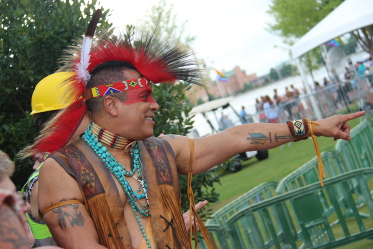 Felipe Rose (Taino, Lakota) enjoys comments from the fans before he headed out to the stage at Hampton Roads Pride. Photo Vincent Schilling