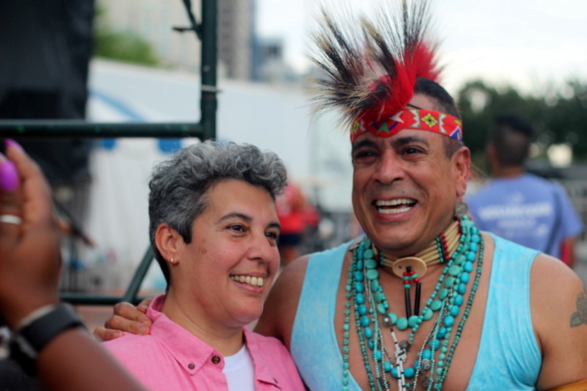 Felipe Rose shares a happy moment with Gina Bethea-Santiago, a resident of Hampton Roads. Photo Vincent Schilling