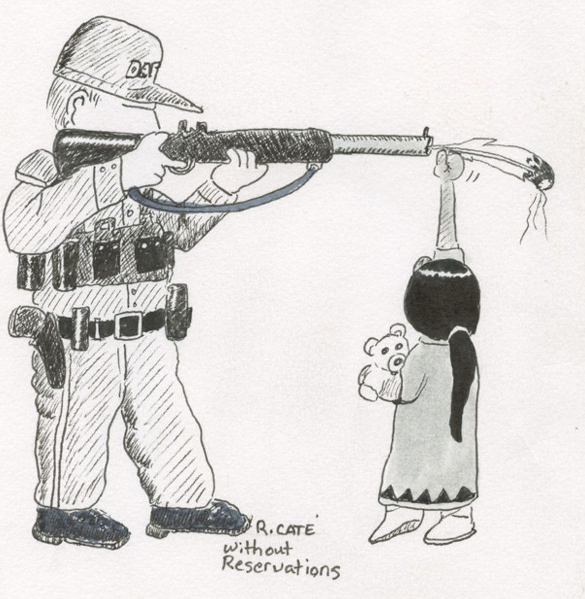 A NoDAPL Drawing by Ricardo Cate'