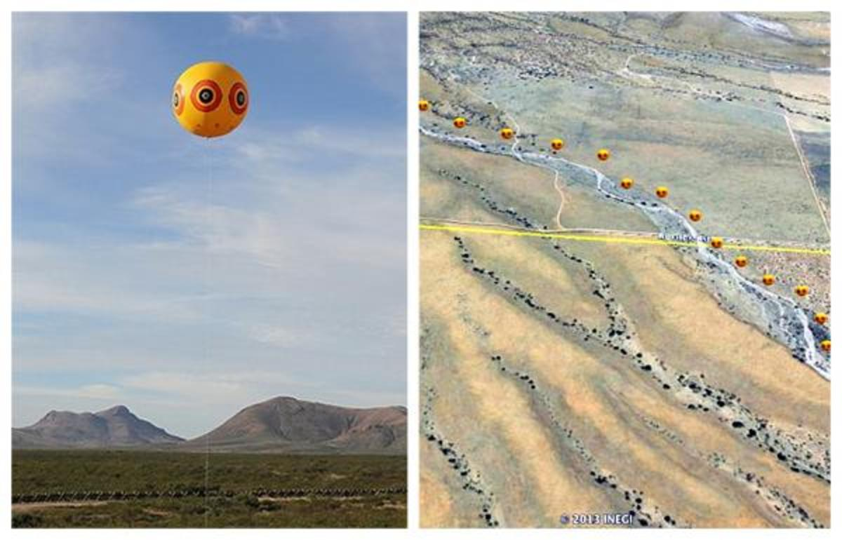 Google Earth Artist Rendering: Intersecting the Arizona and Sonora borders of the United States and Mexico, a three-team artist collective known as PostCommodity has created a two-mile-long work of art called Repellent Fence.