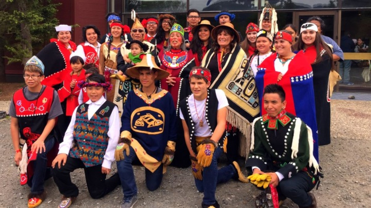 Mark's Trail dancers gather at Celebration 2016 in Juneau, AK over the summer. Photo - Christian Gomez
