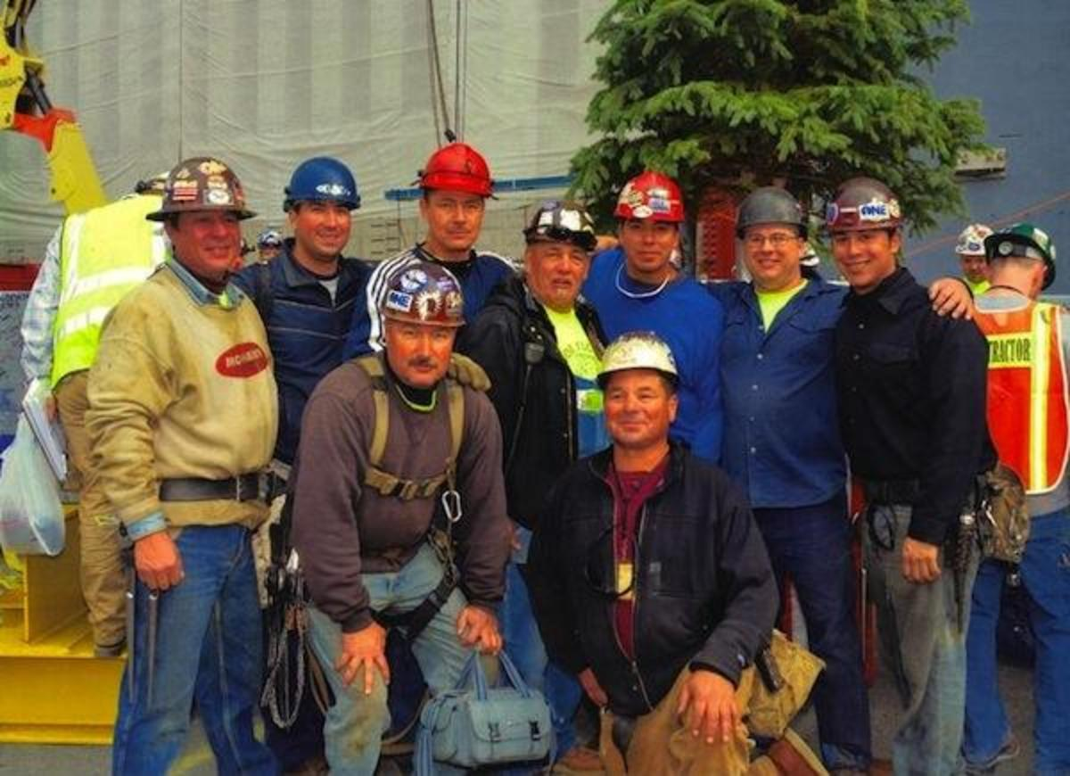 The Mohawk group that worked on the new 1 World Trade Center, according to ironworker John McGowan: Preston Horn, Adam Cross, Randy Jacobs, Joe Flo McComber, Tyler McComber, Louie Cross, Marvin and Keith Brown; many are from Kahnawà:ke, plus Peter Jacobs from Akwesasne, and Turhan Clause, a Tuscarora living in Onondaga.
