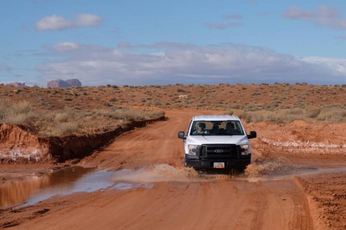 San Juan County, Utah, road crews drive bus routes after a storm to look for damage.