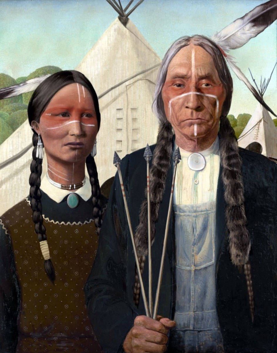 """""""Native American Gothic"""" print by Lehi Thunder Voice Eagle (Dine')."""