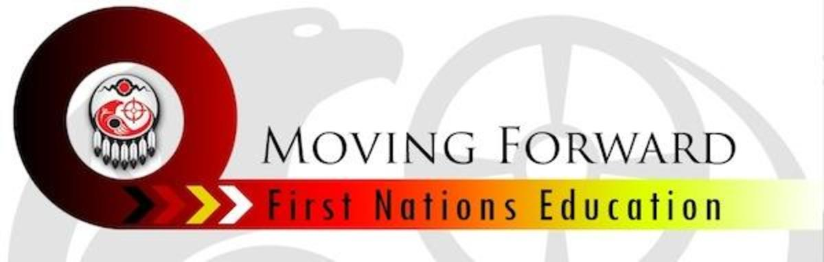 The Assembly of First Nations education-reform logo stresses its theme of moving on and respecting aboriginal rights and treaties.