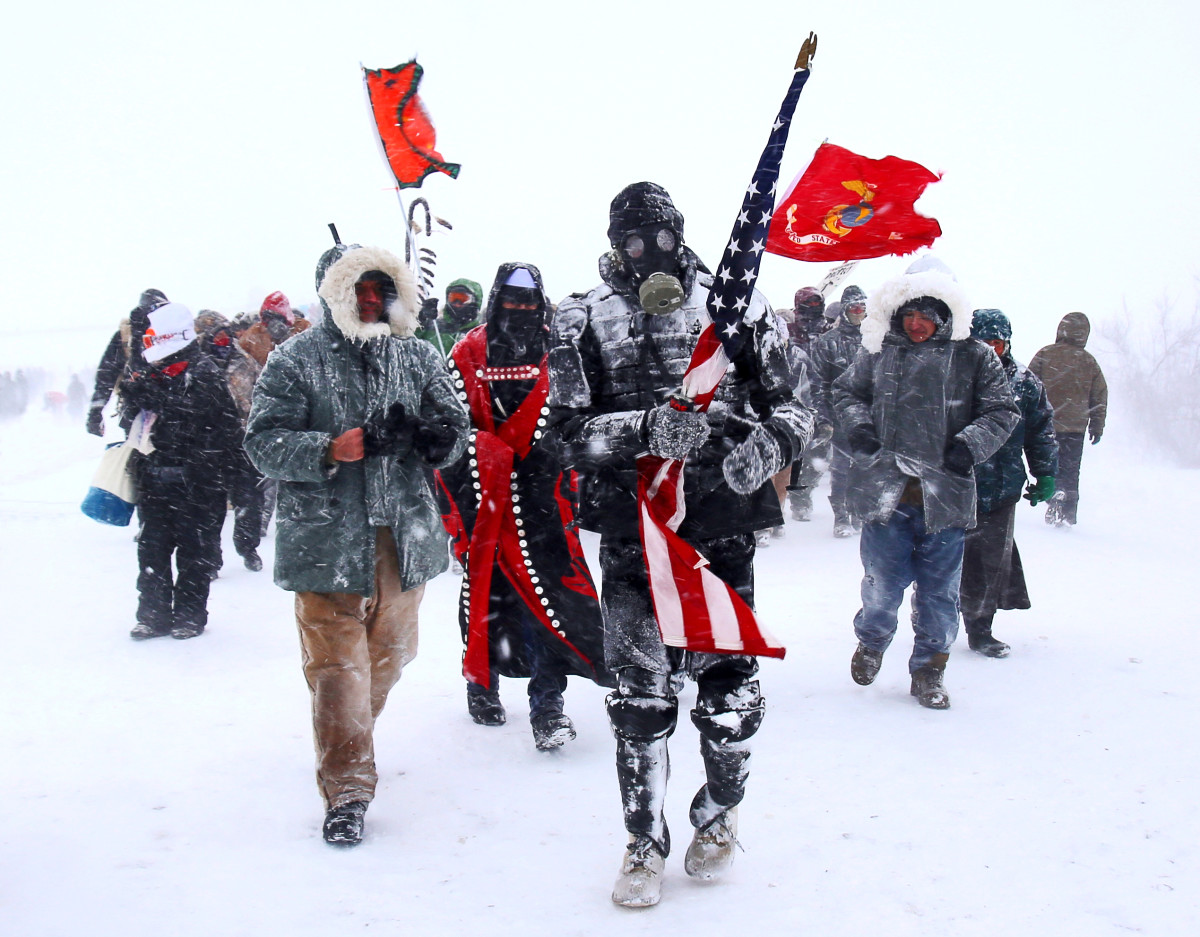 The front lines of Standing Rock on December 5, 2016. Copyright photograph by Zoe Urness.
