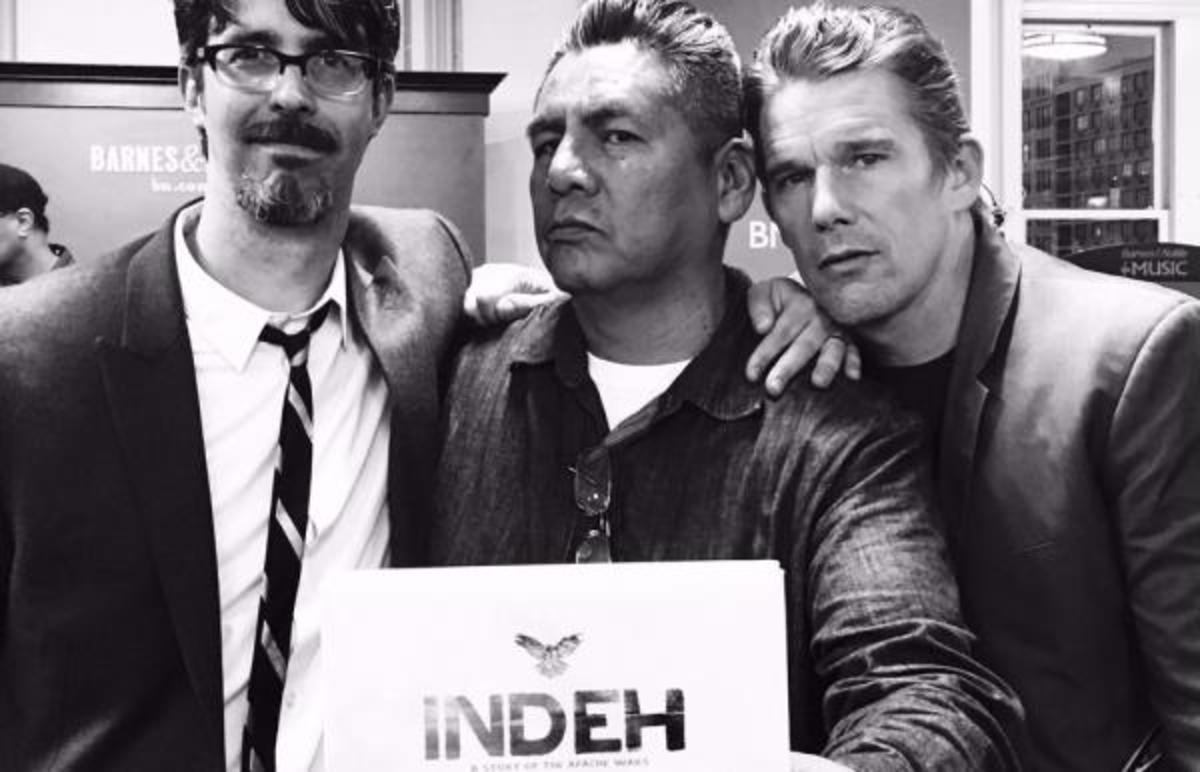 From left to right - Greg Ruth, Douglas Miles of Apache Skateboards and Ethan Hawke