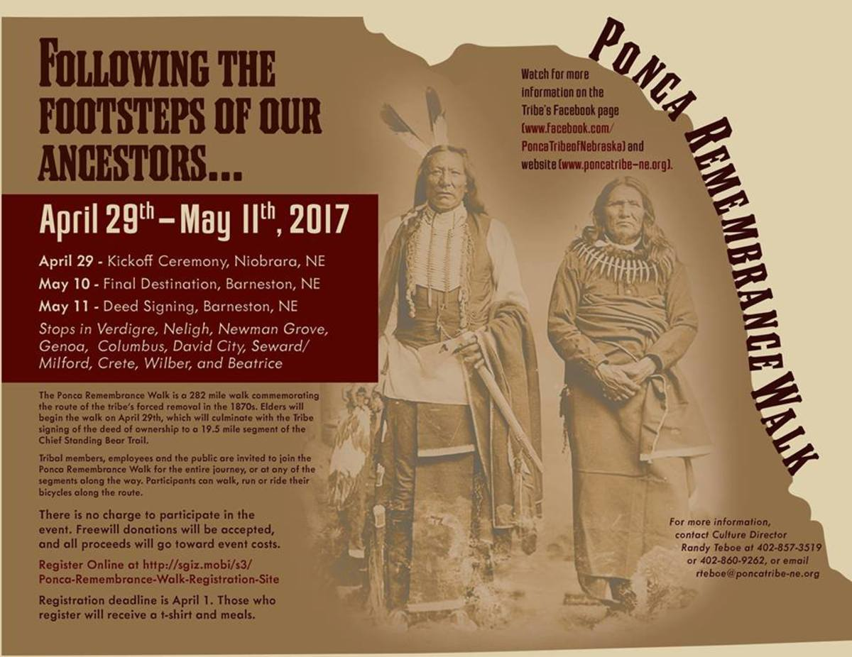 The Ponca Tribe and participants will walk 282 miles to remember ancestors who faced forced removal 140 years ago. The walk begins April 29.