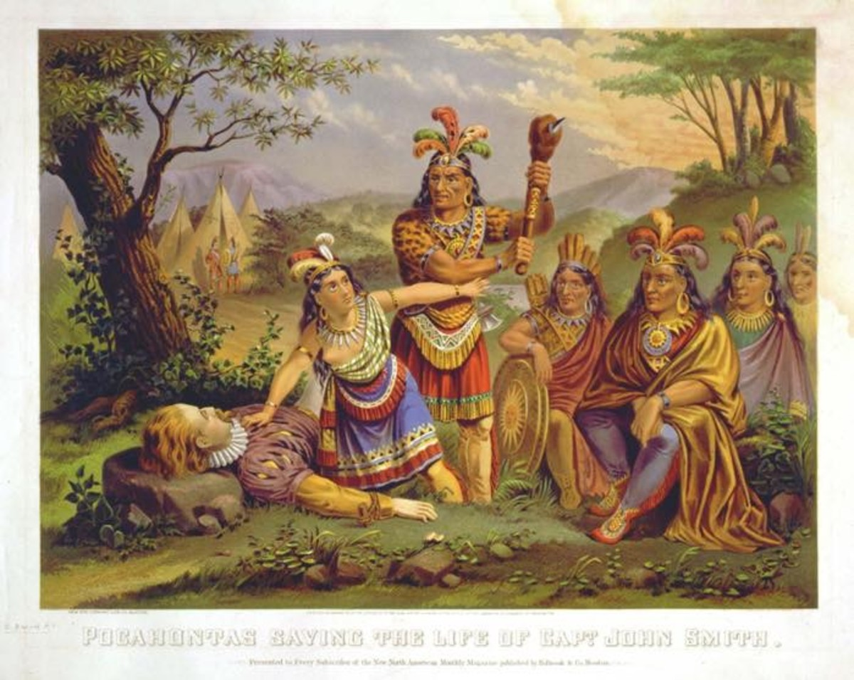 A portrait of Pocahontas saving the life of John Smith with Father Wahunsenaca. Photo - AP Images