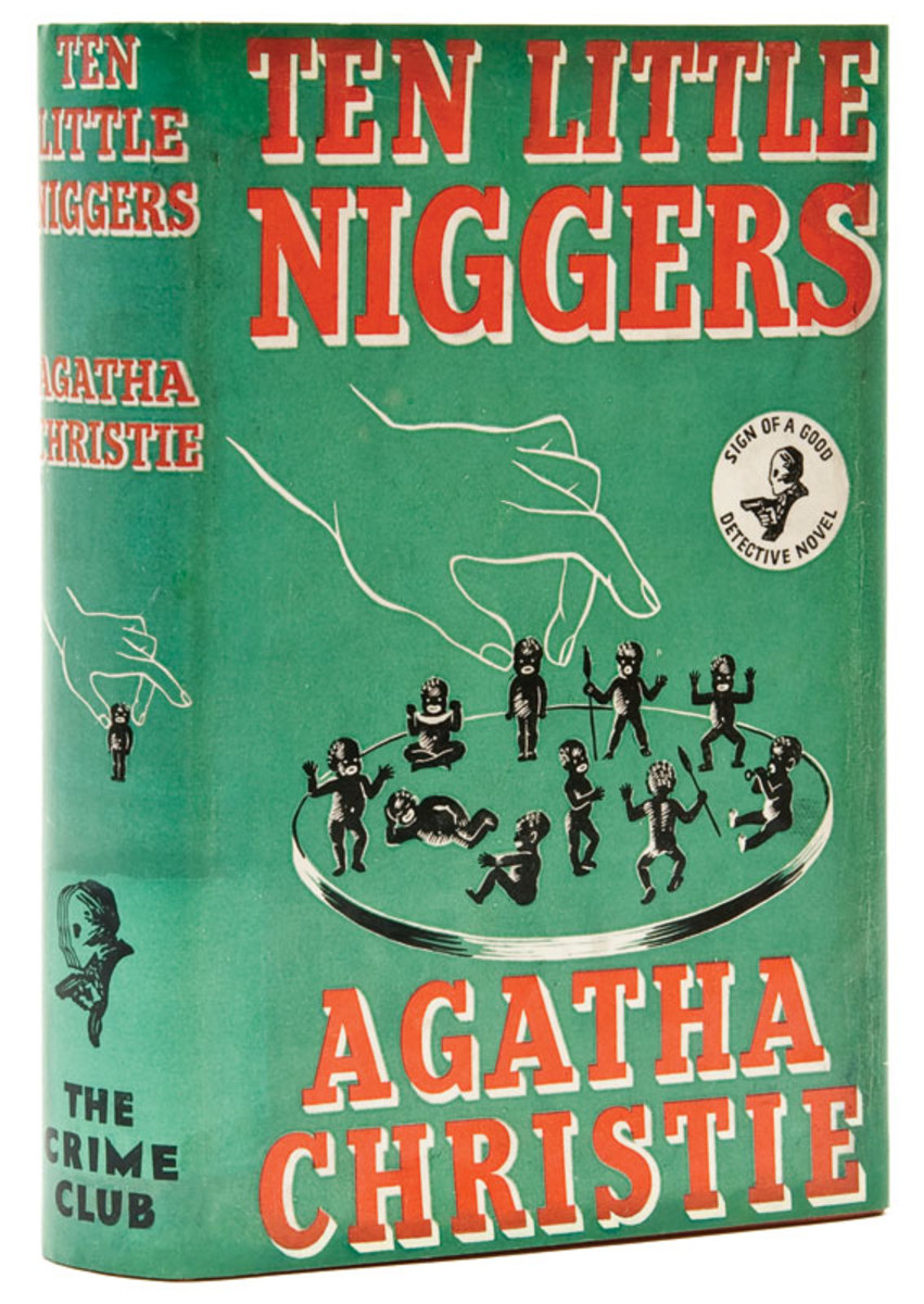"Agatha Christie's book ""Ten Little Indians"" saw a number of incarnations, including a 1939 version titled ""Ten Little Niggers,"" released in England, and movie versions. This artwork is from the Warner Archive."