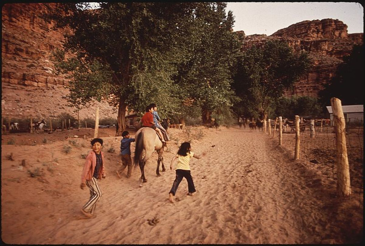 This image from 1972 shows children in the Village of Supai, which is part of Grand Canyon National Park. A group of Havasupai children and families are suing the Bureau of Indian Education for failure to provide a basic education.