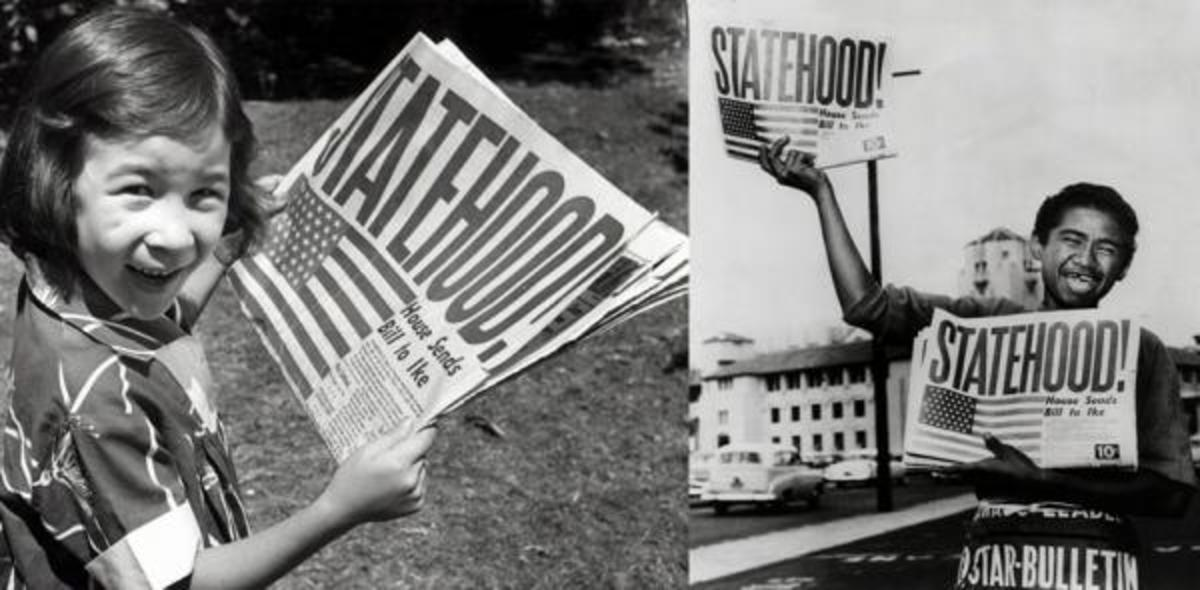 In this March 1959 file photo, Dodie Bacon, of Honolulu, holds a newspaper celebrating Hawaii statehood (left). On the right, Chester Kahapea holds a paper announcing the statehood.
