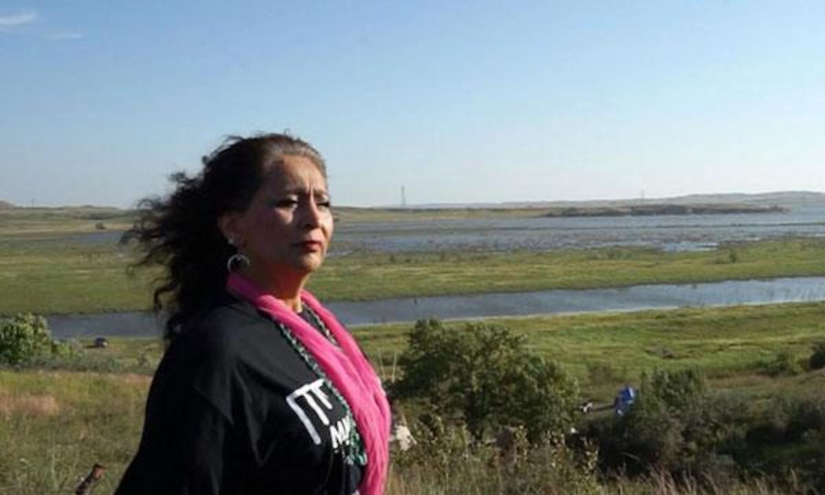 LaDonna Bravebull Allard at Sacred Stone camp along the banks of the Cannonball River, supporting and housing some of the earliest water protectors.
