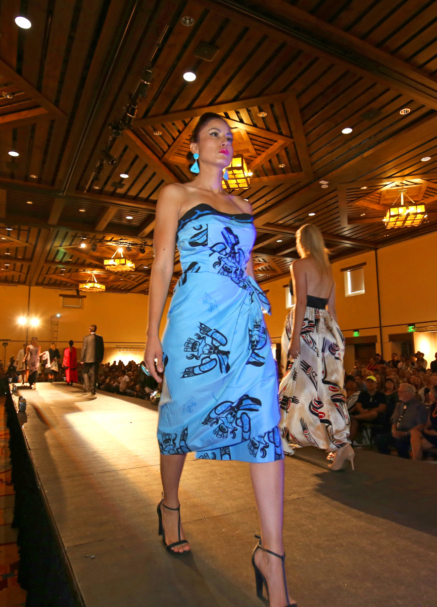 Dorothy Grant, arguably the most experienced and acclaimed designer showing this year, served up elegance with her rich and diverse collection of grownup, dress-up Native chic.