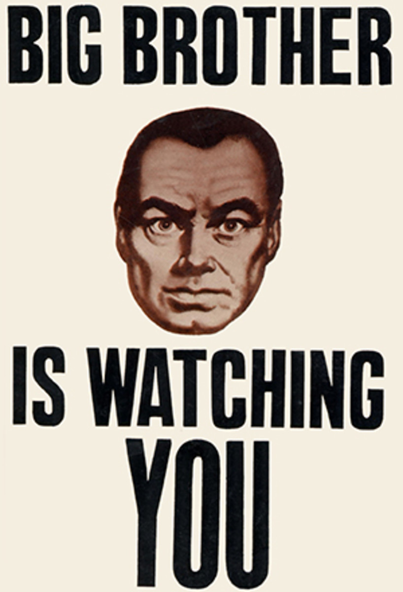 The menacing Big Brother poster from the 1956 film adaptation of '1984.'
