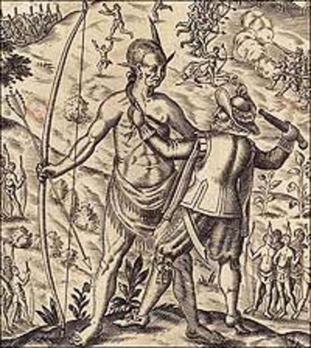 """""""John Smith taking the King of Pamunkey prisoner,"""" is a fanciful image of Opechancanough from Smith's General History of Virginia 1624). The image of Opechancanough is in fact based on a 1585 painting of another Native warrior by John White."""