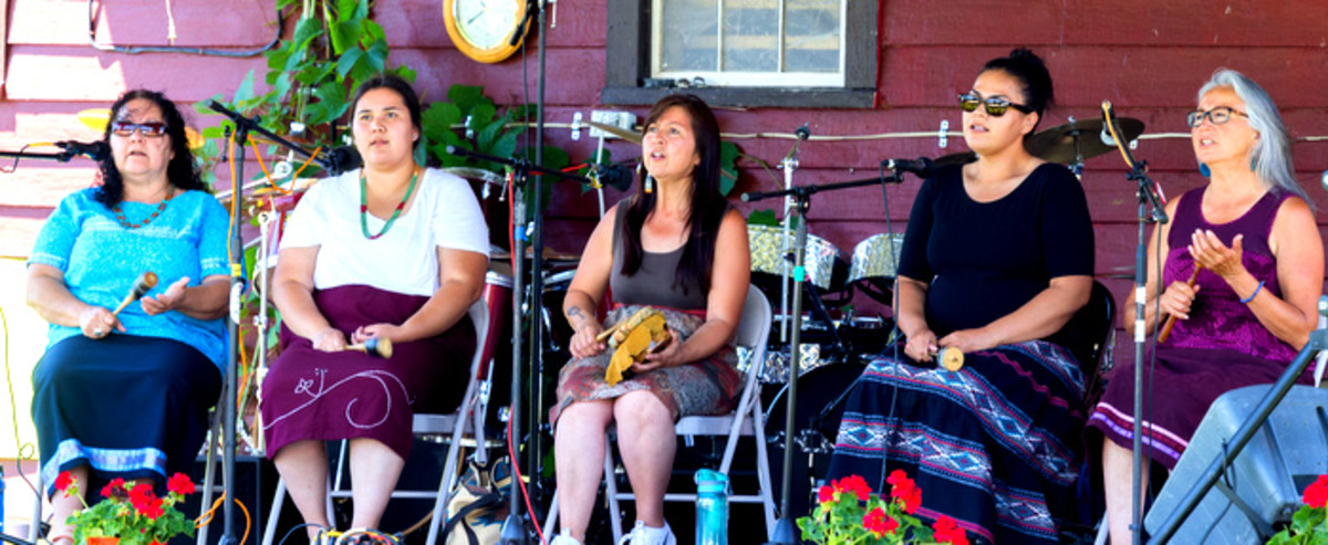 Akwesasne Woman's singers perform for the crowd at the Mohawk Strawberry festival in the Kanastioraheke Mohawk community.
